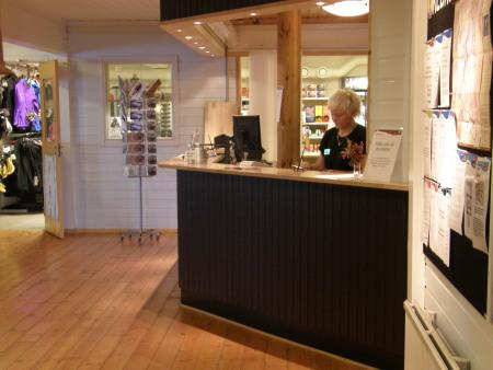 Bild från receptionen på Kebnekaise Fjällstation